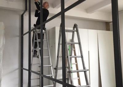 Montage Stahl Glas Trennwand Loft
